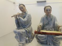Musician couple, Chinese ceramic  1956 - 1970. Orchestra includes eight musicians. Guangdong Chaozhou Fengxi (枫溪)Porcelain  Ref. Written by Li Bingyan