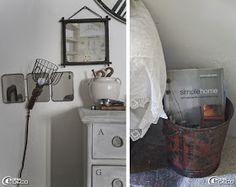 Une baladeuse s'accroche devant un miroir triptyque et livre Simple home de Mark & Sally Bailey