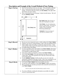 Description and Example of the Cornell Method of Note-Taking