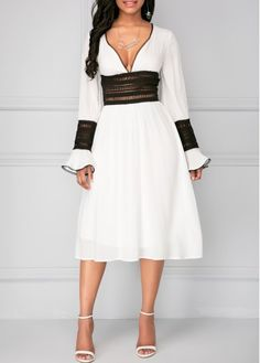 Flare Cuff Patchwork Tie Back White Dress on sale only US$34.90 now, buy cheap Flare Cuff Patchwork Tie Back White Dress at liligal.com