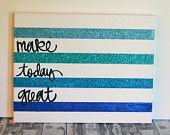 Inspirational Canvas Wall Art Ombre Glitter Dorm Room Art Office Decor Studio Wall Hanging Striped Motivational Canvas Glitter Art Painting