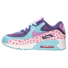 Nike Air Max 90 Premium Mesh Ps Kids 724876-600 Pink Blue Shoes Youth Size 3