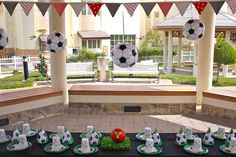 Gazebo Party - Hang blow up soccer balls from the ceiling! Soccer Green, Black & White / Birthday Soccer Party   Catch My Party