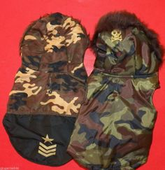 Dog Coats Size Small Lot of 2 Desert Green Camo Pirate Fur Trim Hood free shipping