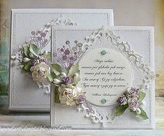 Card vintage with flowers, magnolia rose leaf, Spellbinders S4-318 Nestabilities Fleur de Lis Squares Die - Dorota_mk