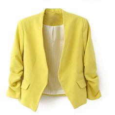 Zacoo Women's Folding Sleeve Office Blazer:Amazon:Clothing (21 AUD) ❤ liked on Polyvore featuring outerwear, jackets, blazers, coats, sleeve jacket, yellow jacket, yellow blazer, yellow blazer jacket and blazer jacket