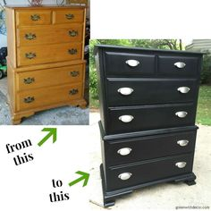 A dresser makeover with spray paint and new hardware. An easy way to update the look of an old piece!
