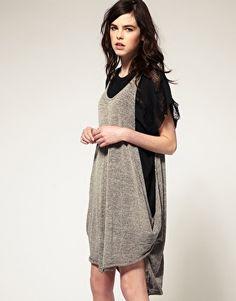 Religion Metallic Knit Drape Dress