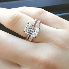 Emerald Cut solitaire engagement ring,engagement ring and wedding band