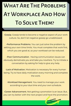 What are the problems at the workplace and how to solve them? - Problem Solving