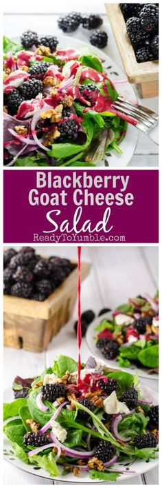 Warm weather demands blackberry goat cheese salad, complete with candied pecans and a blackberry-red wine vinaigrette. Now that's a salad of summer daydreams!