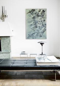 Poul Kjærholm daybed mid century, architecture, MCM, modern, design, modernism, black and white, artwork, fireplace