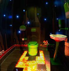 Super Mario World underground themed bathroom at Swedish Video Game Store, Webhallen in Stockholm, Fridhemsplan. Super Mario World underground themed bathroom at Swedish Video Game Store, Webhallen in Stockholm, Fridhemsplan. Video Game Decor, Video Game Rooms, Deco Gamer, Mario Room, Mundo Dos Games, Super Mario World, Game Room Design, Gamers, Game Room Decor