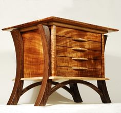 Our first award-winning jewelry box, The Dancing Gem, which sent us onto our woodworking path.
