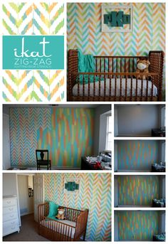 A great gender neutral nursery room idea using the Ikat Zig Zag Stencil from Cutting Edge Stencils. http://www.cuttingedgestencils.com/zigzag-stencil-pattern.html