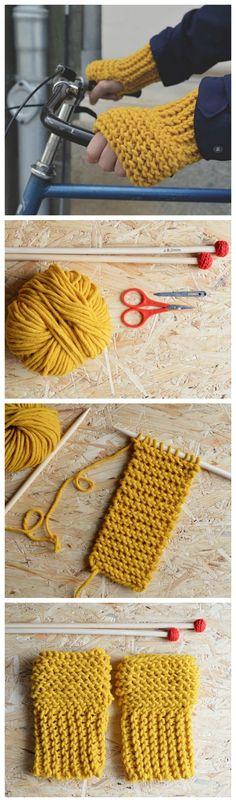 Kostenlose Strickanleitung: Kuschelige Stulpen stricken / free knitting tutorial: how to knit comfy wrist warmer via DaWanda.com