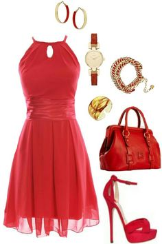 Red and gold dress out fit