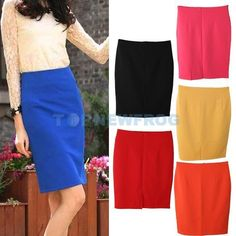 Lady Retro High Waist Tight Pencil Skirt Bag Hip Knee Length Multicolor  TN2F #SkirtSet