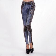 Fashion European Soft Imitate Jeans Women Jeggings Seamless Splice Printed leopard Leggings Ninth Pants Elastic Legins Clothes