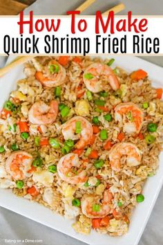 Skip takeout and make this delicious Shrimp Fried Rice Recipe at home in minute. Skip takeout and make this delicious Shrimp Fried Rice Recipe at home in minutes. The shrimp and veggies have the best flavor to make the perfect meal. Shrimp And Rice Recipes, Shrimp Recipes For Dinner, Shrimp Dishes, Seafood Dinner, Rice Dishes, Seafood Recipes, Cooking Recipes, Healthy Recipes, Easy Shrimp Fried Rice Recipe
