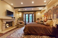 master bedroom. love the fireplace!