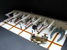 Lego Battlestar Galactica hangar  What I really should be doing at work [I work at Legoland Discovery Center]