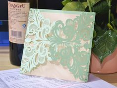 laser cut mint green paper card,wholesale blank wedding invitations 2015