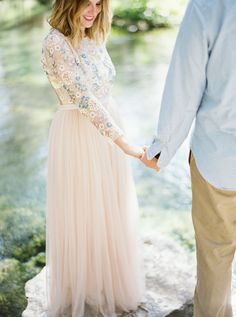 What's better than a sun-filled engagement? How about a sun-filled engagement complete with one of the most beautiful pink gown we've ever laid eyes on. Pink Gowns, Blush Dresses, Bridesmaid Dresses, Wedding Dresses, Engagement Outfits, Winter Engagement, Engagement Session, Pink Wedding Colors, Wedding Day Makeup