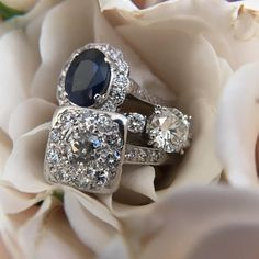 Sapphire and diamond engagement rings