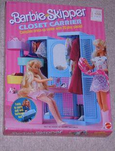 Barbie and Skipper Closet Carrier by Mattel, 1987 1980s Barbie, Barbie Skipper, Vintage Barbie, Vintage Toys, Barbie Dolls, Barbie Life, Barbie House, American Girl Furniture, Barbie Playsets