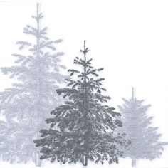 Christmas 20 Paper Lunch Napkins SNOWY FOREST GREY Embossed Napkins