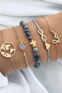Sweet Turtle World Map Marble Bracelet Set # Sweet . Cute Turtle World Map marble bracelet set # sweet Cute Jewelry, Diy Jewelry, Gold Jewelry, Jewelery, Jewelry Accessories, Fashion Jewelry, Women Jewelry, Bohemian Jewelry, Jewelry Box