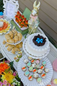 Adorable little girl Easter tea party food