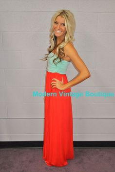 Modern Vintage Boutique - Mint and Coral Maxi Tube Dress with Cinched Bust with Two Side Pockets, $48.00