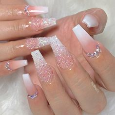 Beautiful white ombre coffin nails with glitter and rhinestones nail designs Bling Acrylic Nails, Glam Nails, Best Acrylic Nails, Rhinestone Nails, Summer Acrylic Nails, Bling Nails, Sparkle Nails, Shellac Nails, Manicures