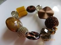 Amber brown beads and crystal  stretch bracelet  $8.99