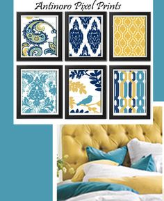 Digital Print Wall Art Yellow turquoise Navy Vintage / Modern inspired Wall Art -Set of 6 - 8x11 Prints - (UNFRAMED)