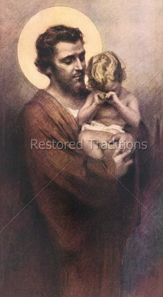 Joseph holds his son Jesus, as He cries. I would imagine that Jesus cried as a baby and as a boy. Joseph and his mother Mary calmed Jesus down the same way parents calm their children today. That is a beautiful thought. Catholic Religion, Catholic Art, Catholic Saints, Roman Catholic, Religious Art, Religious Pictures, Jesus Pictures, St Joseph Pictures, Mystique