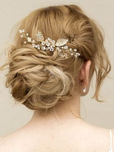 "Rhinestone & Crystal Hair Vine Gold Hair Comb - ""Elke"""