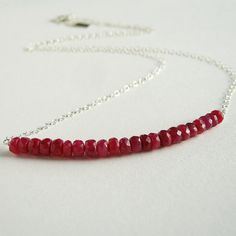 Red Ruby Necklace Sterling Silver. AzizaJewelry. by AzizaJewelry, $40.00