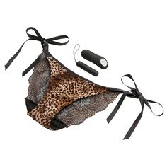 Leopard-print, tie-side vibrating knickers with secret pocket that holds a remote control  bullet vibe, with 20 different settings - wowser! £35 #vibrating #panties #lingerie #FreeDelivery