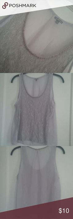 Lilac Colored Blouse - Charlotte Russe Large lilac top with pretty bead work around the neckline. Front is sheer lace & back is sheer. 60% Cotton, 40% Nylon Lace is showing slight wear but overall in good used condition. Charlotte Russe Tops Tank Tops