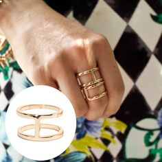 Double Band Ring - Gold and Rose Gold - T&J Designs