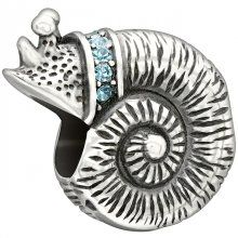 Chamilia 2025-1094 Sea Snail Bead - Calming and soothing, the sea snail encourages you to slow down, laugh and live life to the fullest. Share your sentiments of peace and tranquility with the sterling silver Sea Snail bead, embellished with indicolite Swarovski crystals. #chamilia #snail #charmbead #kairosjewellery