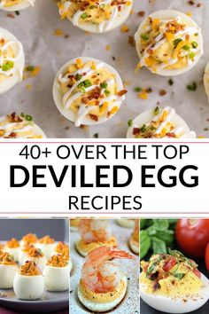 Looking for the best deviled egg recipes, including deviled eggs with bacon? These over the top recipes will have you begging for more. Eggs 40 Over the Top Deviled Egg Recipes Perfect Deviled Eggs, Bacon Deviled Eggs, Deviled Eggs Recipe, Deviled Eggs With Shrimp, Healthy Deviled Eggs, Thanksgiving Deviled Eggs, Thanksgiving Recipes, Easter Eggs, Clean Eating Snacks
