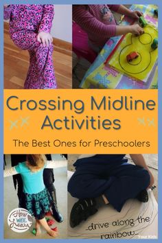Wondering what crossing the midline means? This post explains it beautifully and offers the best crossing midline activities for preschoolers. These are fun and easy activities that build kids brains! Educational Activities For Preschoolers, Gross Motor Activities, Gross Motor Skills, Sensory Activities, Therapy Activities, Preschool Movement Activities, Creative Activities, Toddler Activities, Crossing Midline