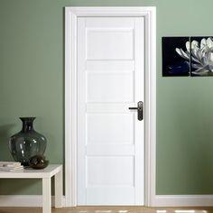 Mexicano White Primed Door with Vertical Lining. White Panel Doors, Interior Panel Doors, Solid Doors, Cheap Internal Doors, White Internal Doors, Contemporary Doors, Modern Door, Primed Doors, Shaker Style Doors