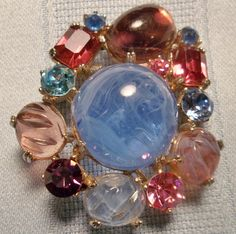 Vintage Reinad Art Glass and Rhinestone Brooch.SOLD