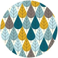 Charley Harper for Birch Fabrics Organic, FLANNEL, Octoberama Blue