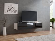 Domadeco 140 media tv stand/floating tv unit/tv entertainment center Color white and black